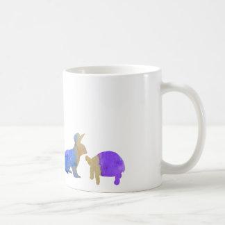 A rabbit and a tortoise coffee mug