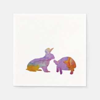 A rabbit and a tortoise disposable napkin