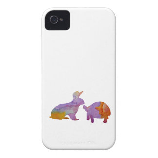 A rabbit and a tortoise iPhone 4 case