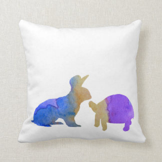 A rabbit and a tortoise throw pillow