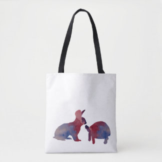 A rabbit and a tortoise tote bag
