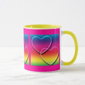 a rainbow  hearts mug