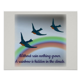 A Rainbow in the Clouds, Bluebirds and Rainbows Poster