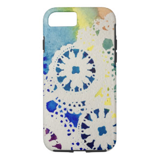 A rainbow lace/tie dye watercolor iPhone case
