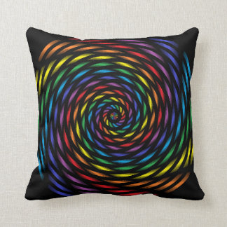 A Rainbow Pinwheel in Motion Throw Pillow
