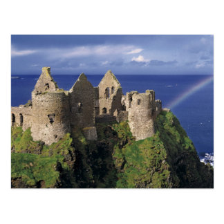 A rainbow strikes medieval Dunluce Castle on Postcard