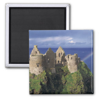 A rainbow strikes medieval Dunluce Castle on Square Magnet