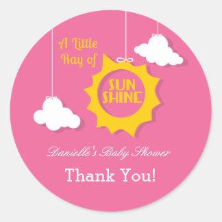 A Ray of Sunshine Baby Shower Sticker Round Sticker