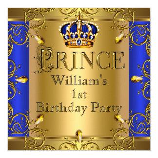 Ă?re anniversaire couronne d'or de bleu royal de carton d'invitation  13,33 cm
