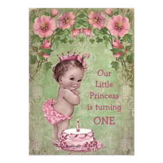Ă?re fête d'anniversaire de princesse vintage carton d'invitation  12,7 cm x 17,78 cm