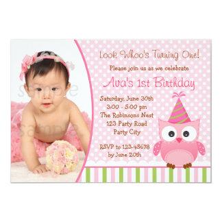 Ă?re invitation d'anniversaire de hibou avec la carton d'invitation  12,7 cm x 17,78 cm