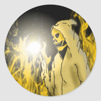 A Reaper in Hell (Gold) Round Sticker