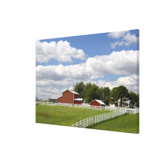 A red barn and farm at Pamona, Kansas. Stretched Canvas Prints