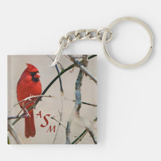 A Red Cardinal Bird on a Branch in the Woods Keychain