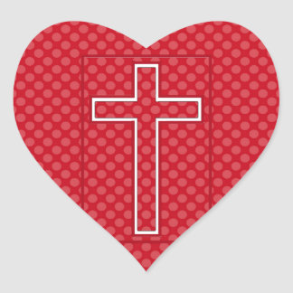 A Red Christian Cross. Heart Sticker
