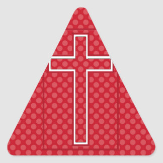 A Red Christian Cross. Triangle Sticker