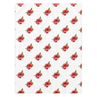 A Red Hibiscus Flower Isolated On White Background Tablecloth