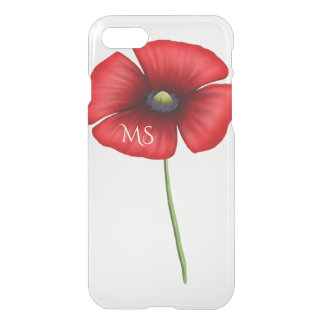A Red Poppy Flower Monogram Clear iPhone 7 Case