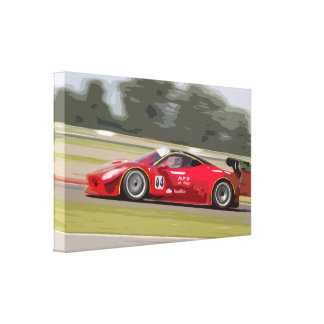 A Red Racing Car at High Speed Canvas