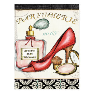 A Red Shoe, A Bottle of Perfume, and Blush Powder Postcard