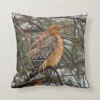 A Red-shouldered Hawk on a Branch Throw Pillow
