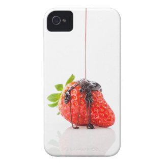 A red strawberry falling chocolate to him iPhone 4 Case-Mate case
