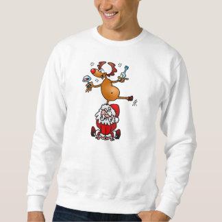 A reindeer dances on Santa's back Sweatshirt