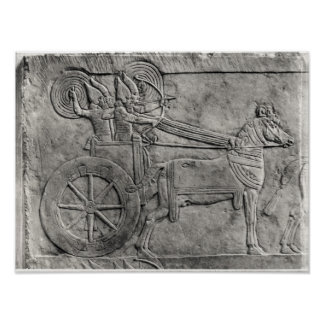 A relief depicting the Assyrian army in battle Poster