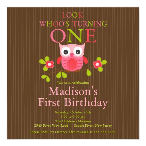 Ă?res invitations de fête d'anniversaire de hibou