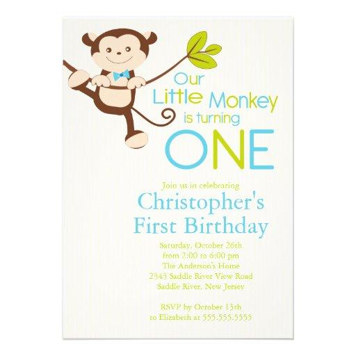 Ă?res invitations de fête d'anniversaire de singe