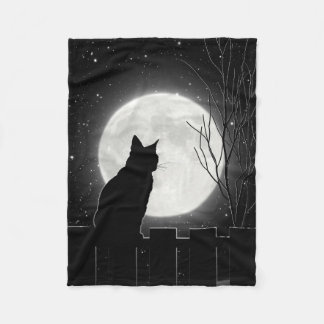 A resting Black cat and full moon, Fleece Blanket
