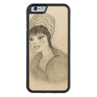 A Retro Girl Carved Maple iPhone 6 Bumper Case
