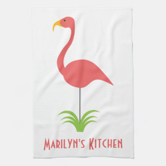 A Retro Pink Flamingo for the Kitchen Hand Towel