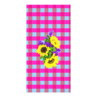 A Retro Pink Teal Checkered Sun Flower Pattern. Custom Photo Card