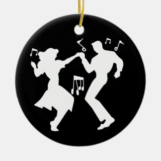 A Retro Rockin' Theme Ceramic Ornament