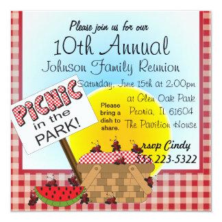 "A Reunion | Picnic in the Park | Any Occasion 5.25"" Square Invitation Card"