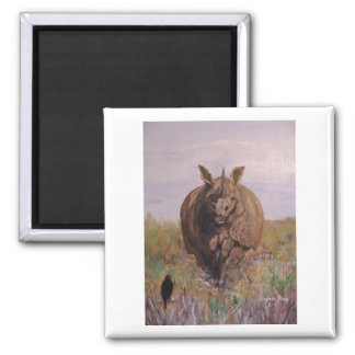 """A Rhino Moment"" Square Magnet"