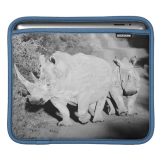 A Rhino mother and her calf in South Africa iPad Sleeve