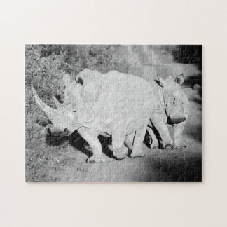 A Rhino mother and her calf in South Africa Jigsaw Puzzle