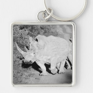A Rhino mother and her calf in South Africa Keychain