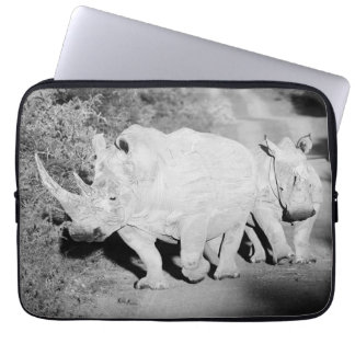 A Rhino mother and her calf in South Africa Laptop Sleeve