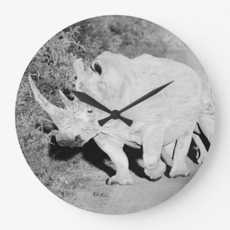 A Rhino mother and her calf in South Africa Large Clock