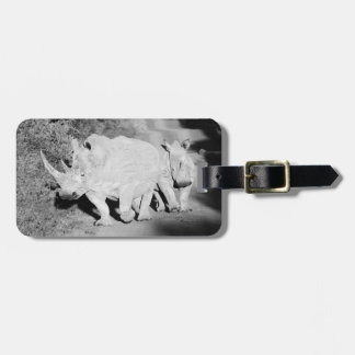 A Rhino mother and her calf in South Africa Luggage Tag