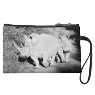 A Rhino mother and her calf in South Africa Suede Wristlet