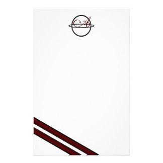 A Ringed Monogram Crimson Striped Stationery