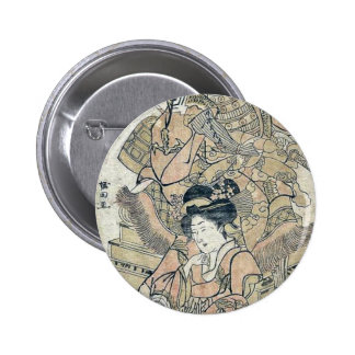 A risque version of the tale of Akisame Ukiyoe Button