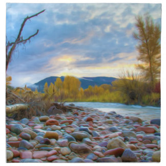 A River With Stones In Autumn Mountains Cloth Napkins