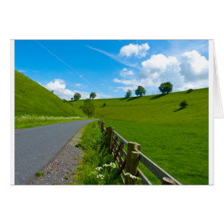 A road leading into a Yorkshire green valley. Card