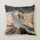 A Road runner pauses momentarily on its search Throw Pillow