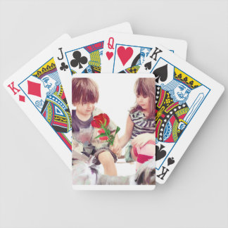a rose a puppy and a kiss bicycle playing cards